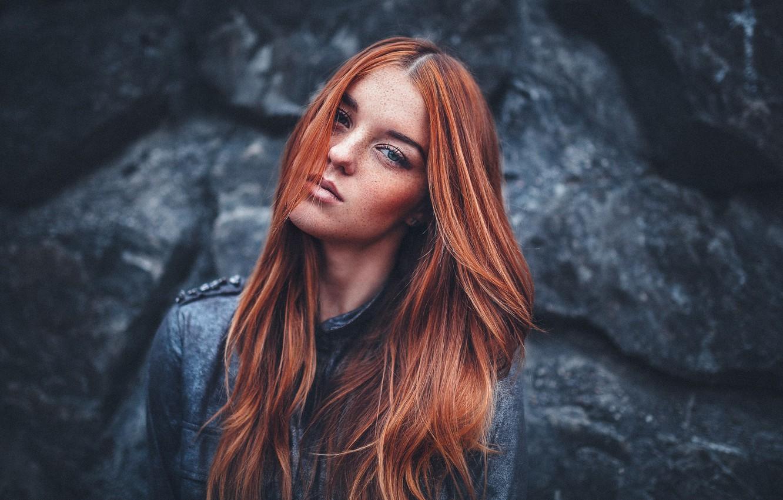 Photo wallpaper Girl, Dark, Beautiful, Model, Beauty, Eyes, Skin, Redhead, Fashion, Hair, Freckles, Lara, Deep