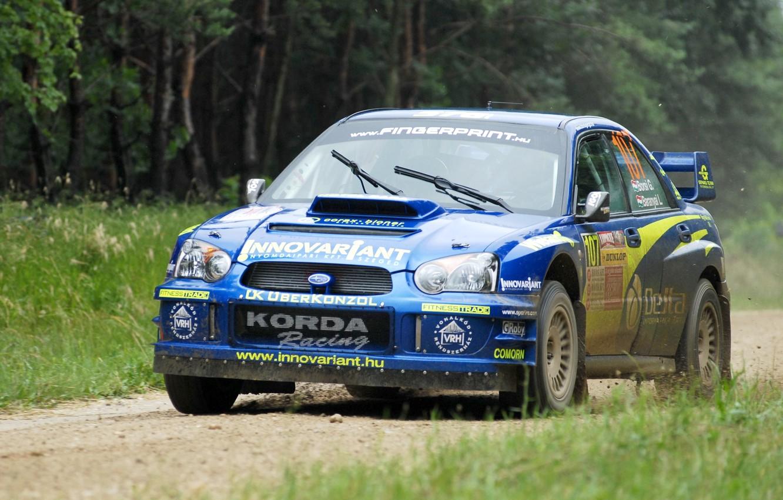 Photo wallpaper forest, Auto, Subaru, Impreza, Sport, Machine, wrx, WRC, Subaru, Rally, Rally, The front, In motion