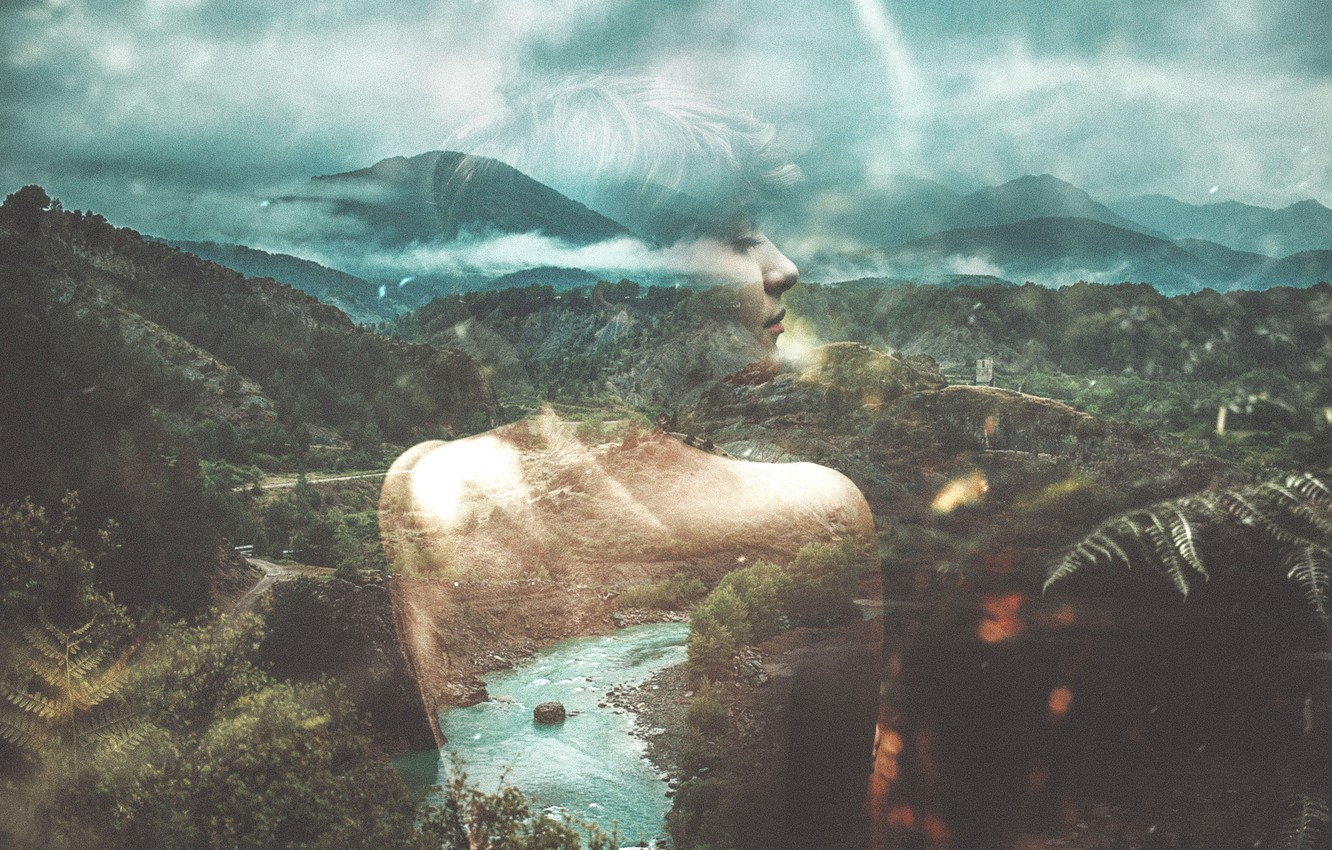 Photo wallpaper girl, forest, river, clouds, hills, double exposure