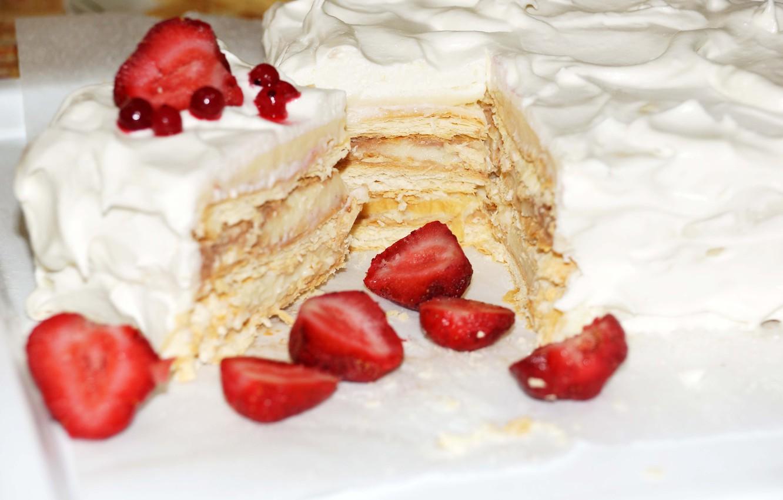 Photo wallpaper berries, strawberry, cake, cream, sweet, sweet, strawberry, cake, Napoleon