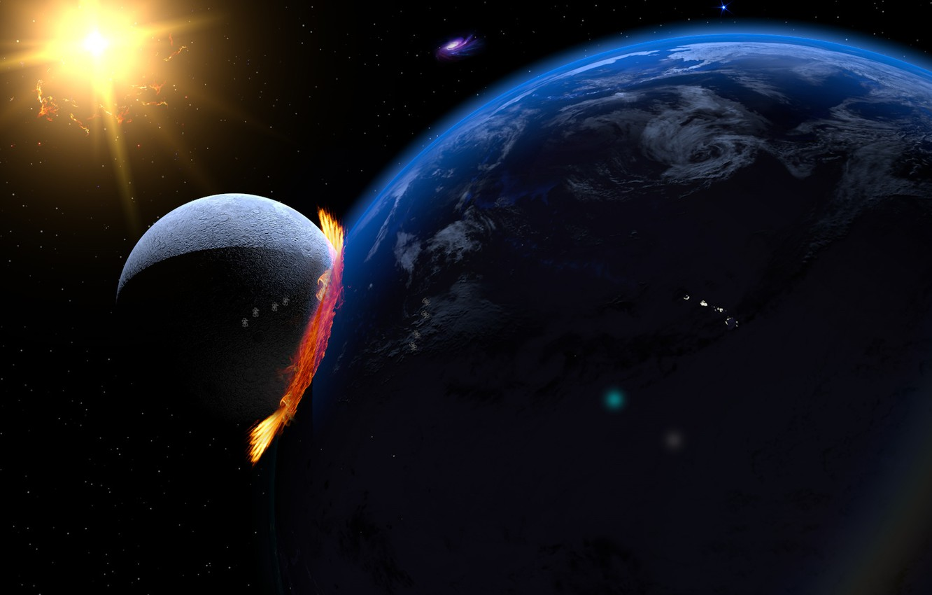 Photo wallpaper The sun, Stars, The moon, Fire, The explosion, Light, Earth, The end, The end of …