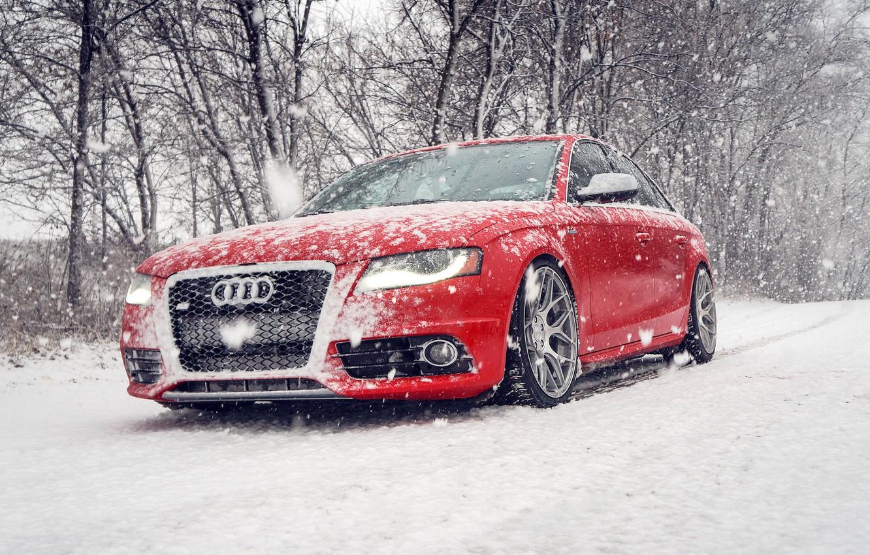 Photo wallpaper winter, snow, Audi, Audi, red, red, winter