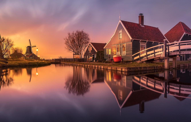 Photo wallpaper home, channel, mill, Netherlands, Zaanse Schans