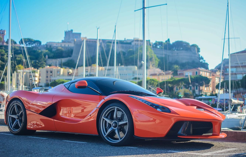 Photo wallpaper Ferrari, Red, Car, Super, LaFerrari