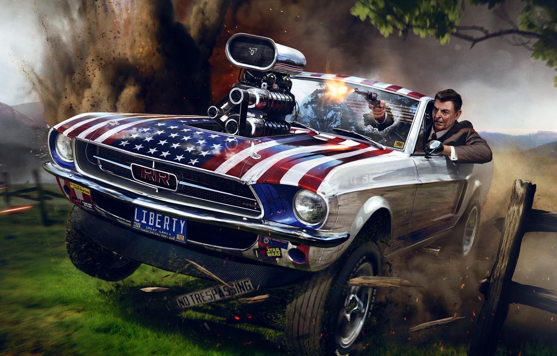 Photo wallpaper the explosion, gun, Ford Mustang, art, Ronald Reagan