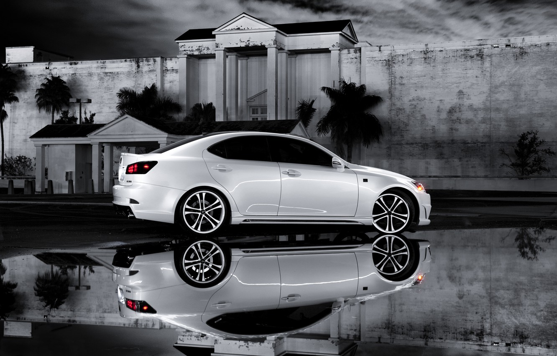 Photo wallpaper white, reflection, Lexus, Lexus, IS 350, b\W photo, F Sport