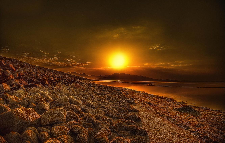 Photo wallpaper the sun, lake, sunrise, iran