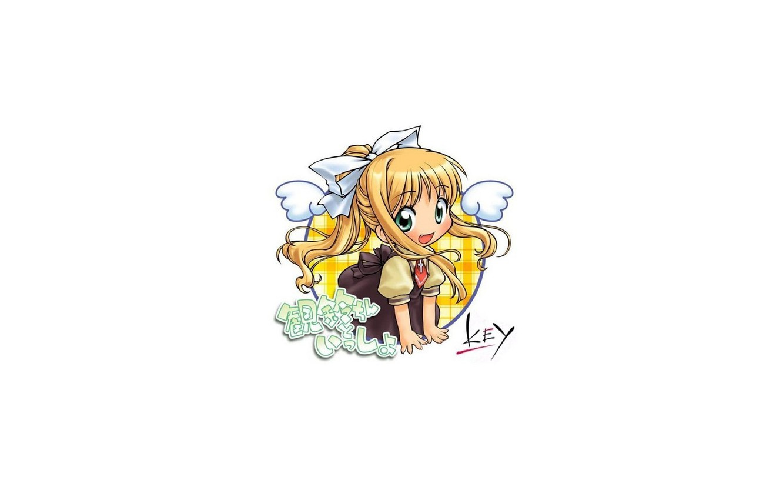 Photo wallpaper Hair, Eyes, White background, Girl, Anime, Air, Bow, Joy.