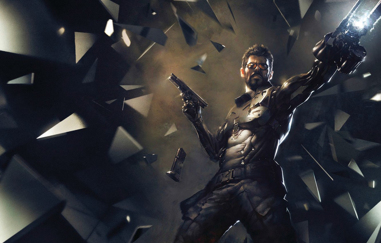 Photo wallpaper weapons, figure, armor, cyborg, Square Enix, Adam Jensen, Adam Jensen, cyborg, Deus Ex: Mankind Divided, …