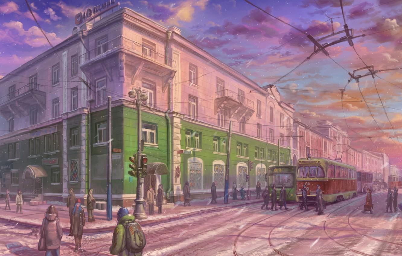 Photo wallpaper winter, the city, street, crossroads, tram, art, passers-by
