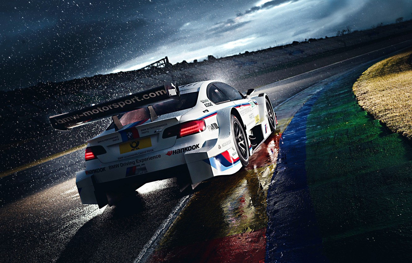 Photo wallpaper BMW, Race, White, Rain, DTM, Team, Morning, Competition, Track, M Power