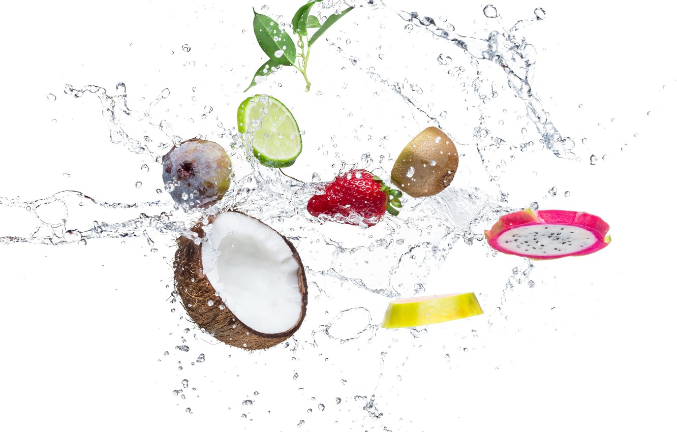 Photo wallpaper water, drops, squirt, orange, coconut, kiwi, strawberry, leaf, lime, citrus, slices, figs