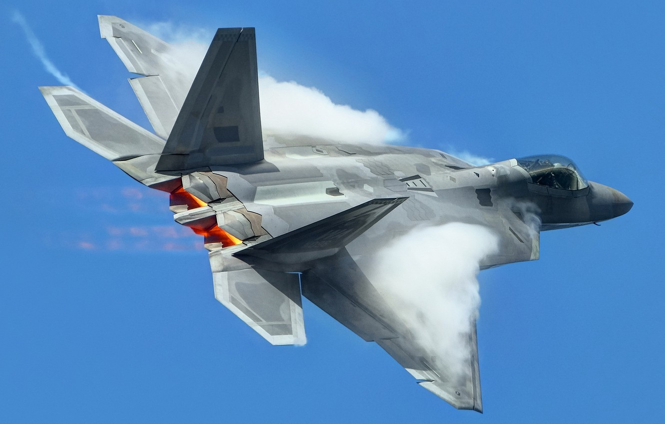 Photo wallpaper the sky, weapons, the plane, F-22 Raptor