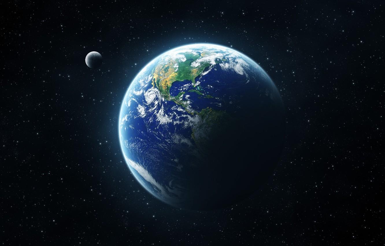 Photo wallpaper The moon, Planet, Space, Earth, Terra