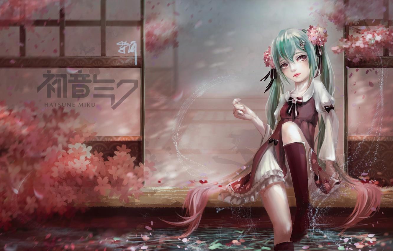 Photo wallpaper girl, reverie, squirt, house, pond, petals, Sakura, art, vocaloid, hatsune miku, sitting, bao xiao