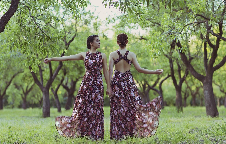 Photo wallpaper nature, style, girls, dress