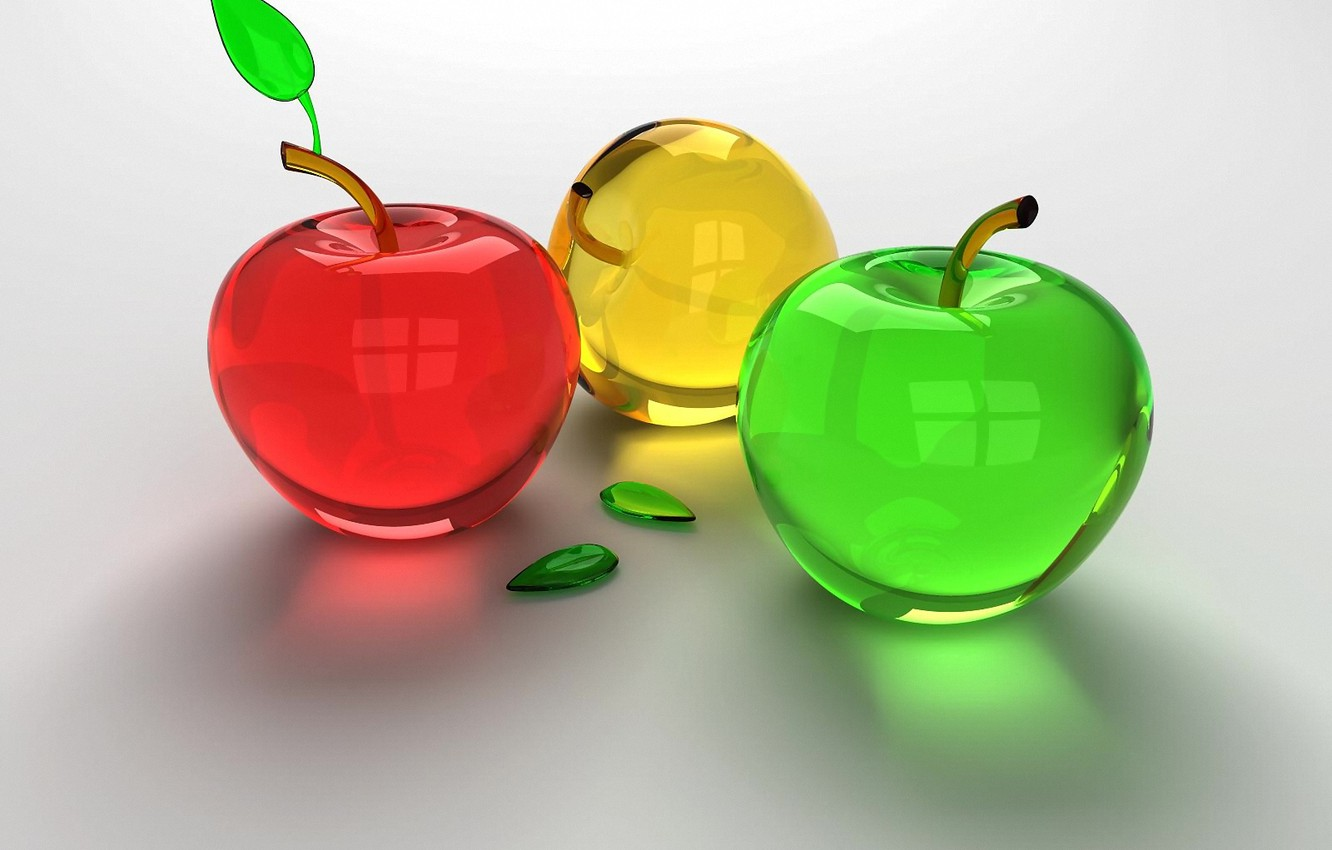 Photo wallpaper glass, red, green, apples