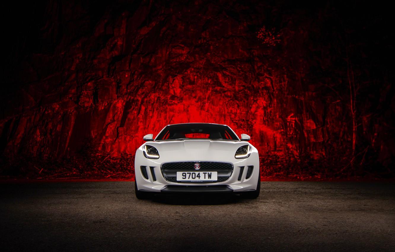 Photo wallpaper Jaguar, Red, Car, Front, White, Sport, F-Type, Ligth