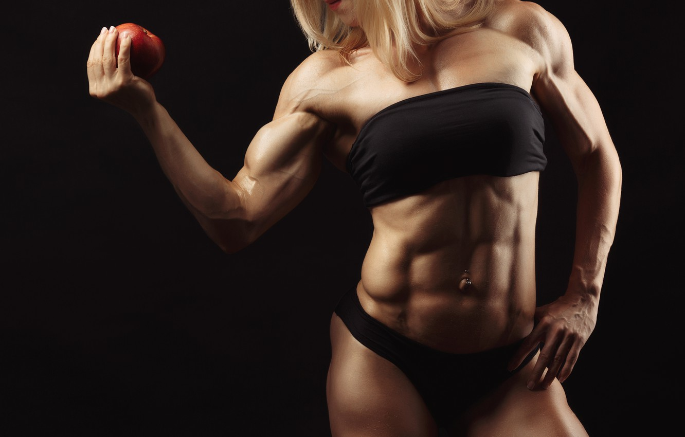 Photo wallpaper apple, muscles, blonde, pose, abs, bodybuilder