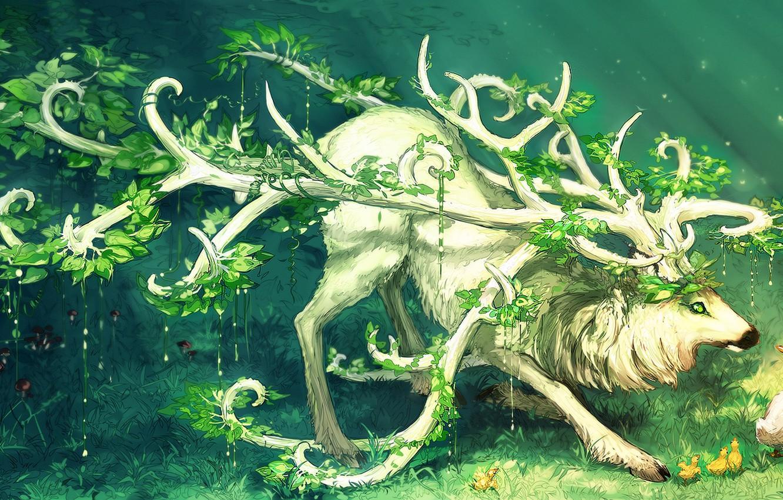 Photo wallpaper grass, animal, bird, plants, horns, duck, green eyes