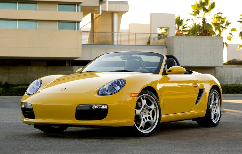 Photo wallpaper Wallpaper, Porsche, Machine, yellow