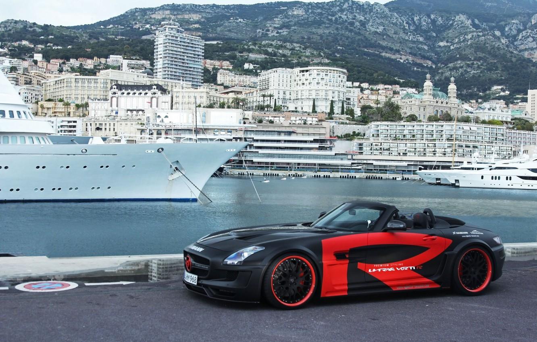 Photo wallpaper Roadster, promenade, Monaco, Monaco, Mercedes SLS AMG, La Condamine, The Condamine, Hamann Hawk