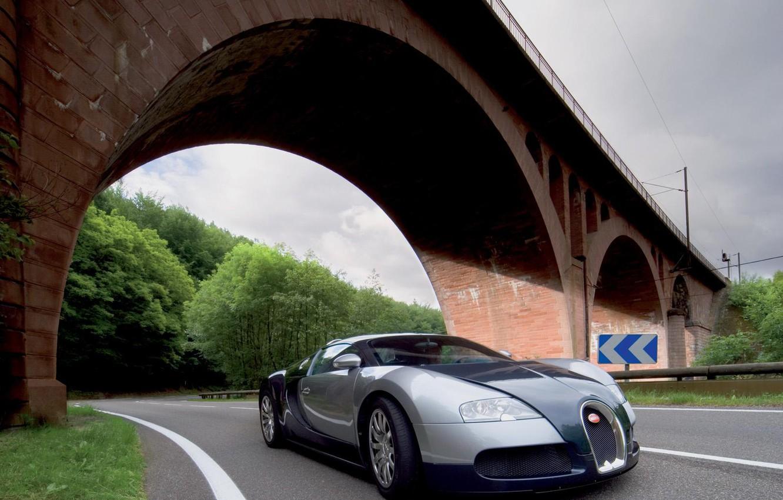 Photo wallpaper road, trees, bridge, arch, Bugatti Veyron