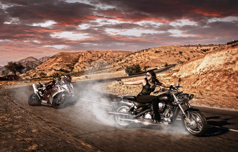 Photo wallpaper ROAD, GIRL, GUN, SPORTBIKE, TURN, MOTORCYCLES, CHOPPER, CHASE