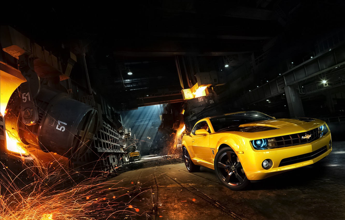 Photo wallpaper Chevrolet, Muscle, Camaro, Car, Front, Yellow, Bumblebee, Sparks