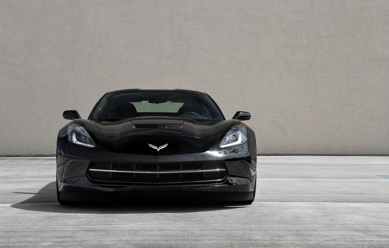 Photo wallpaper black, black, the front, Corvette, stingray, running lights, chevrole, chevroletcorvette