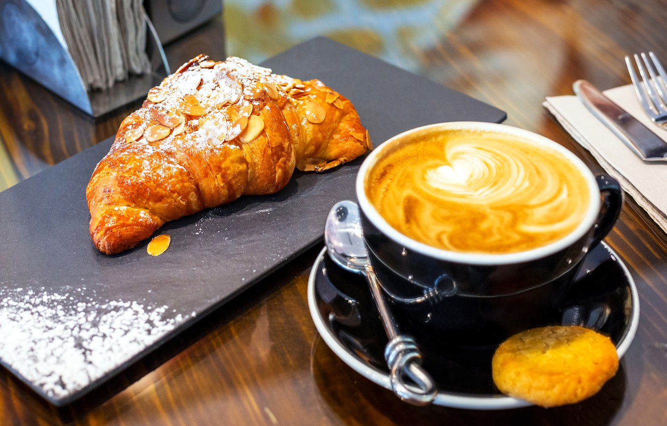 Photo wallpaper coffee, cappuccino, cakes, coffee, croissant, baking