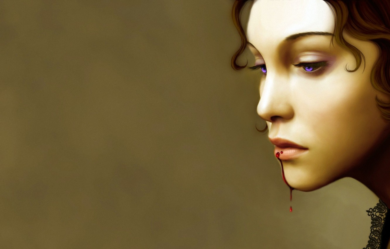 Photo wallpaper eyes, girl, face, background, blood, hair, lips, profile, dripping, blood on the lips