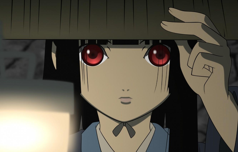 Photo wallpaper face, hand, hat, lantern, red eyes, Enma Ai, Jigoku Shoujo, Hell girl, Hell girl, look …