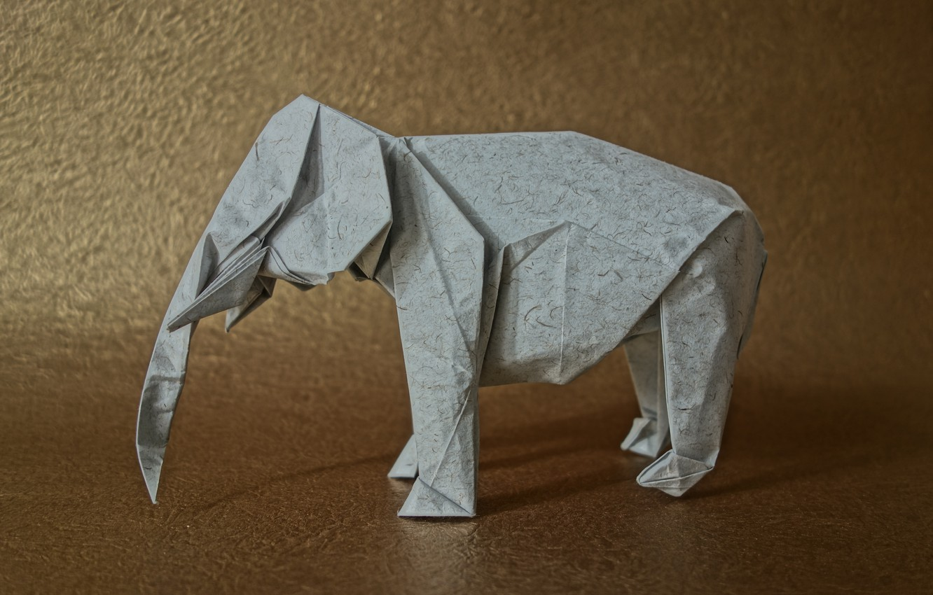 Photo wallpaper paper, background, elephant, origami