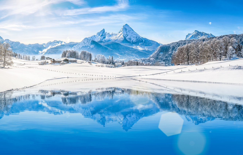 Photo wallpaper winter, forest, snow, mountains, snowflakes, nature, winter, snow