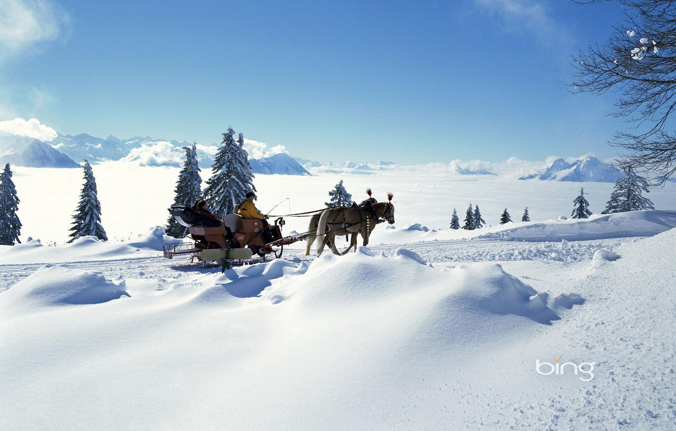 Photo wallpaper winter, the sky, the sun, clouds, light, snow, mountains, people, mood, tree, spruce, horse, horizon, …