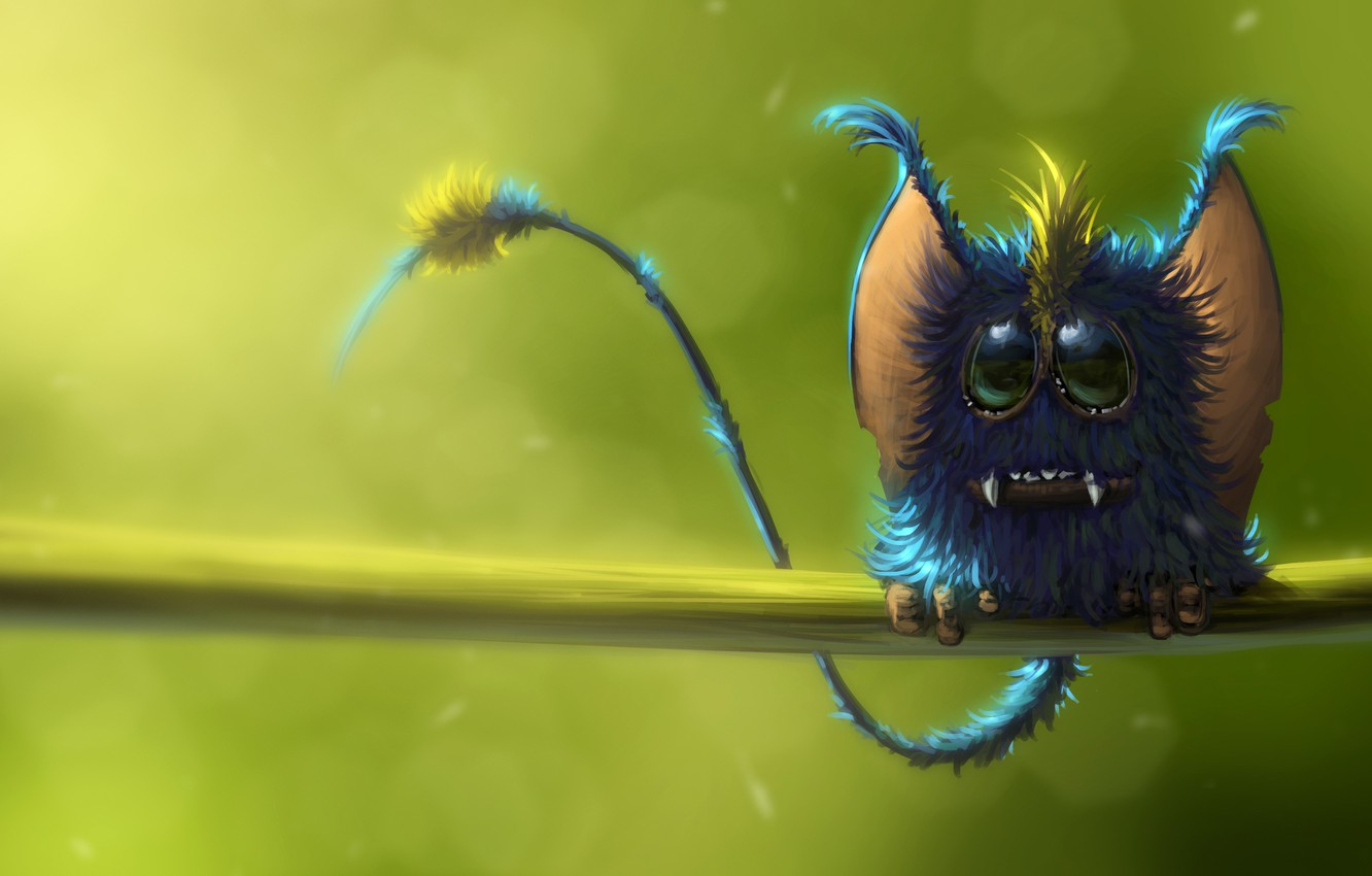 Photo wallpaper fluffy, Monster, simple background, the devourer of dimensions