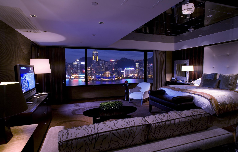 Photo wallpaper city, lamp, sofa, bed, TV, window, curtains, bedroom, interior, the city., bedrom