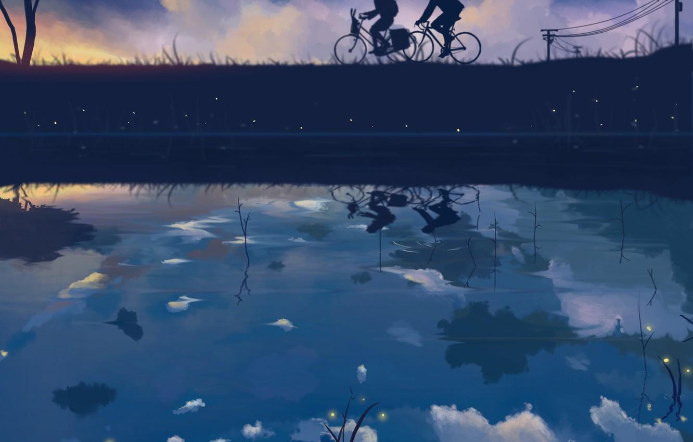 Photo wallpaper the sky, girl, stars, clouds, bike, reflection, fireflies, wire, anime, art, guy, dias mardianto, donsaid