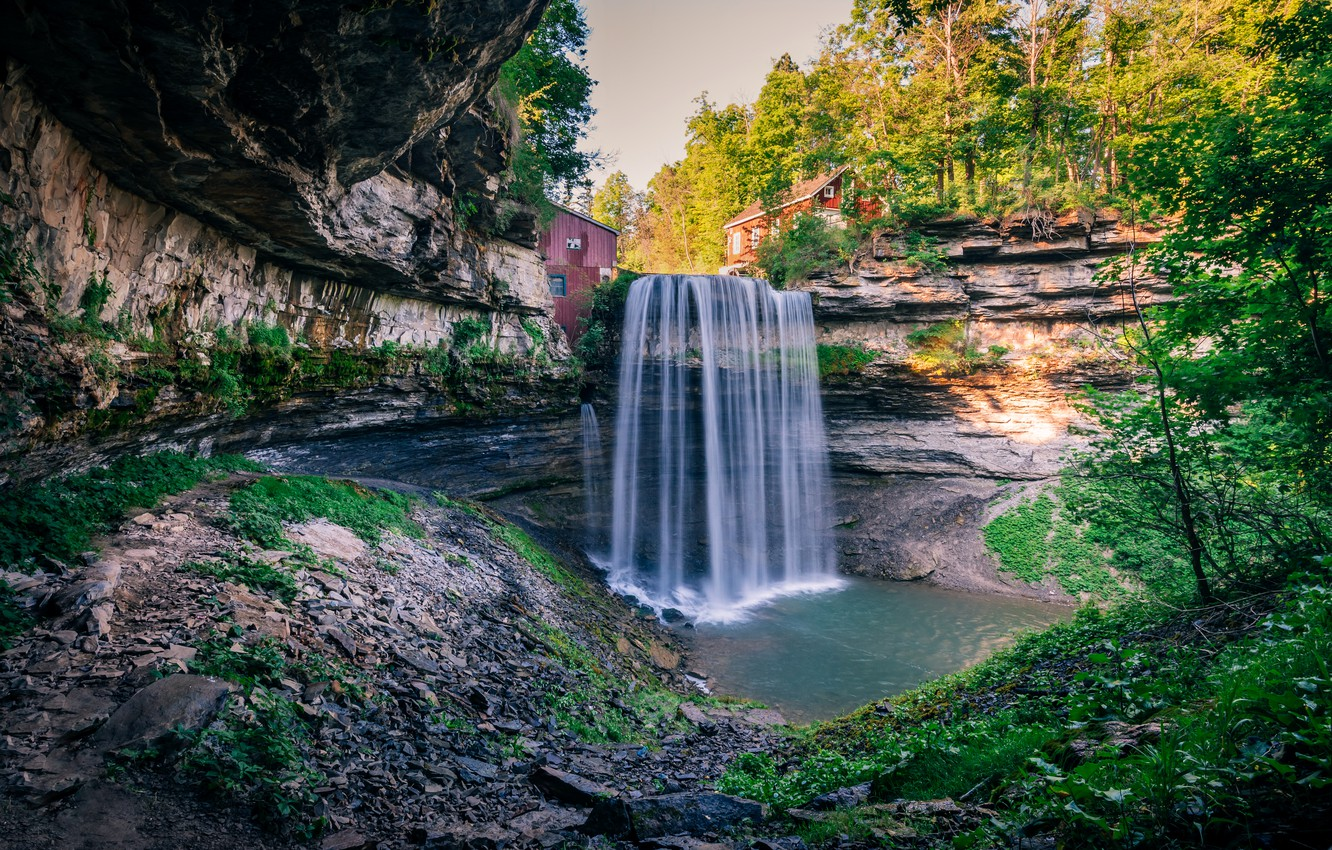 Photo wallpaper autumn, forest, trees, rock, stones, waterfall, Canada, houses, Sunny, Ontario