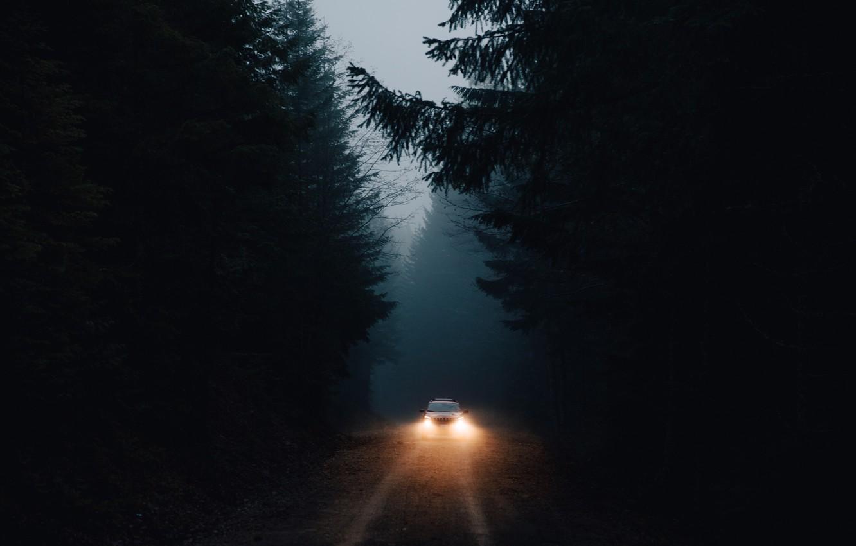 Photo wallpaper machine, forest, light, darkness, lights
