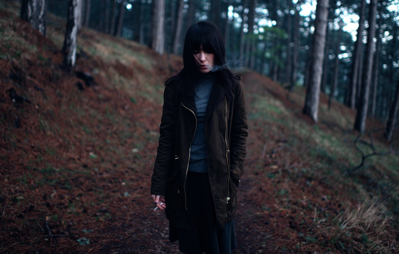Photo wallpaper forest, girl, cigarette, Satan, take care of nature, your mother