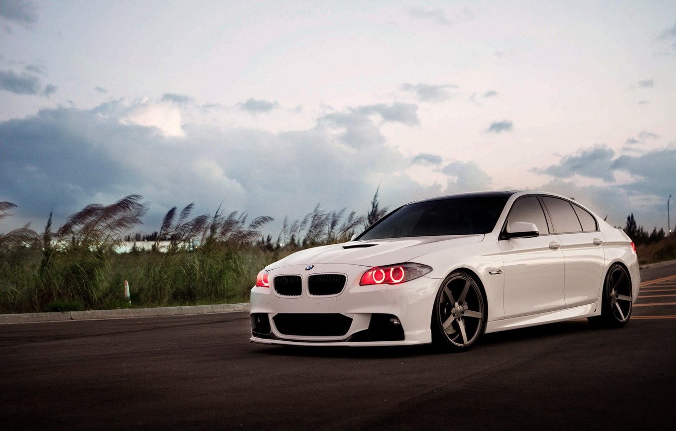 Photo wallpaper tuning, BMW, the evening, BMW, white, headlights, 5 Series, five
