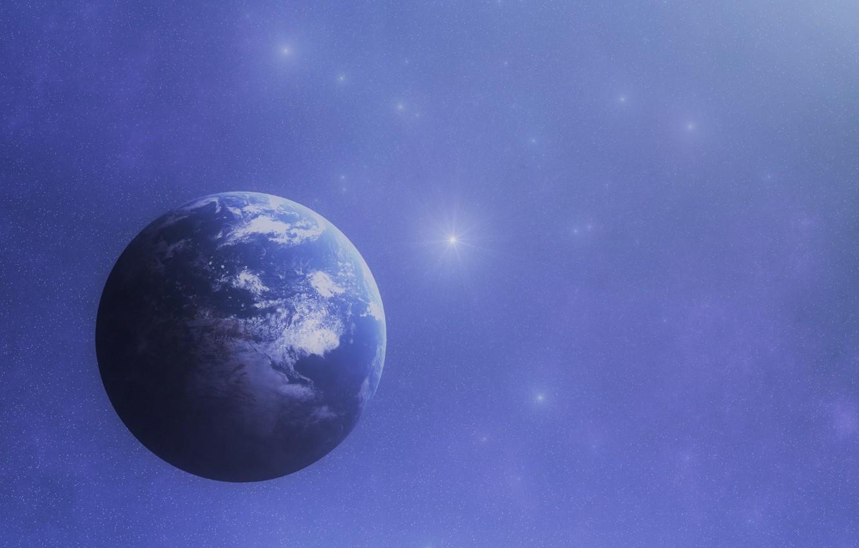 Photo wallpaper space, stars, Earth