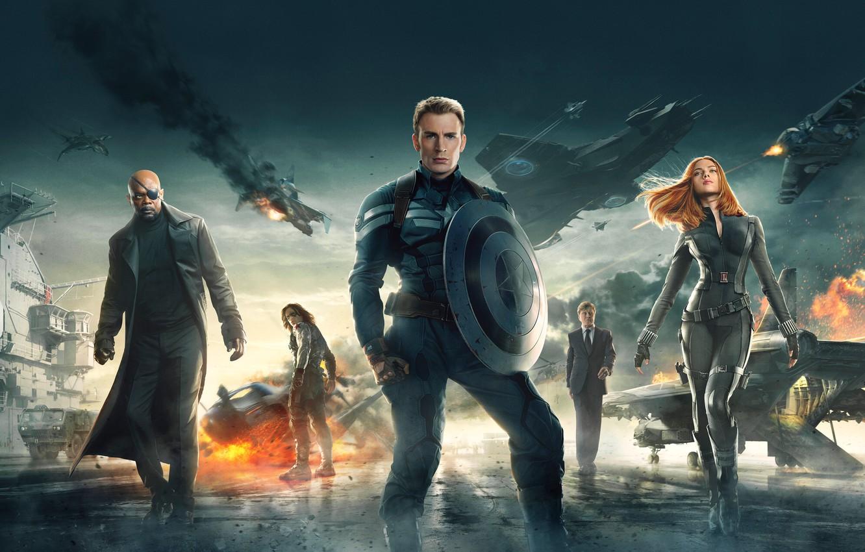 Photo wallpaper Scarlett Johansson, Marvel, Natasha Romanoff, Chris Evans, Soldier, 2014, Nick Fury, Captain America The Winter …