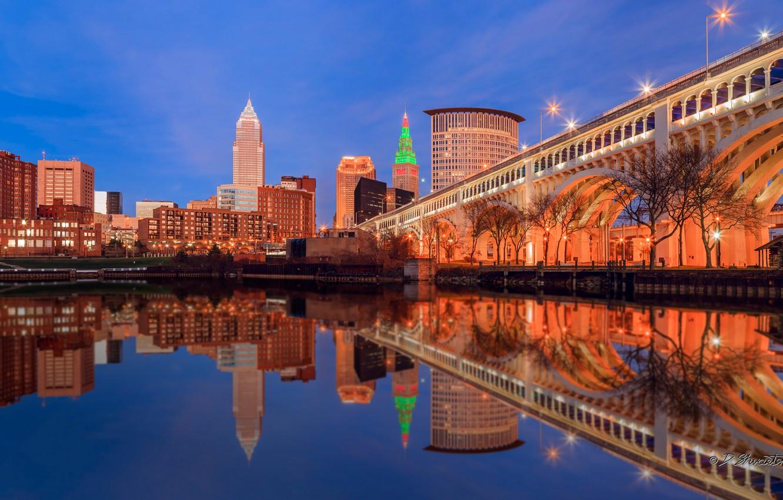 Photo wallpaper bridge, lights, reflection, home, USA, Cleveland, Ohio