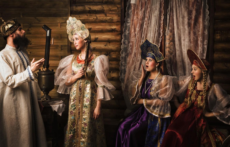 Photo wallpaper meeting, tale, king, three girls