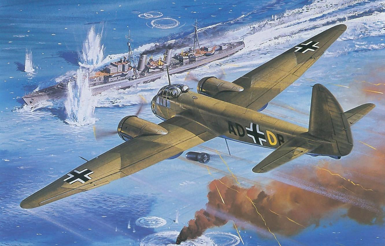 Photo wallpaper sea, the sky, war, smoke, figure, ship, explosions, goal, bursts, art, bomber, the plane, military, …