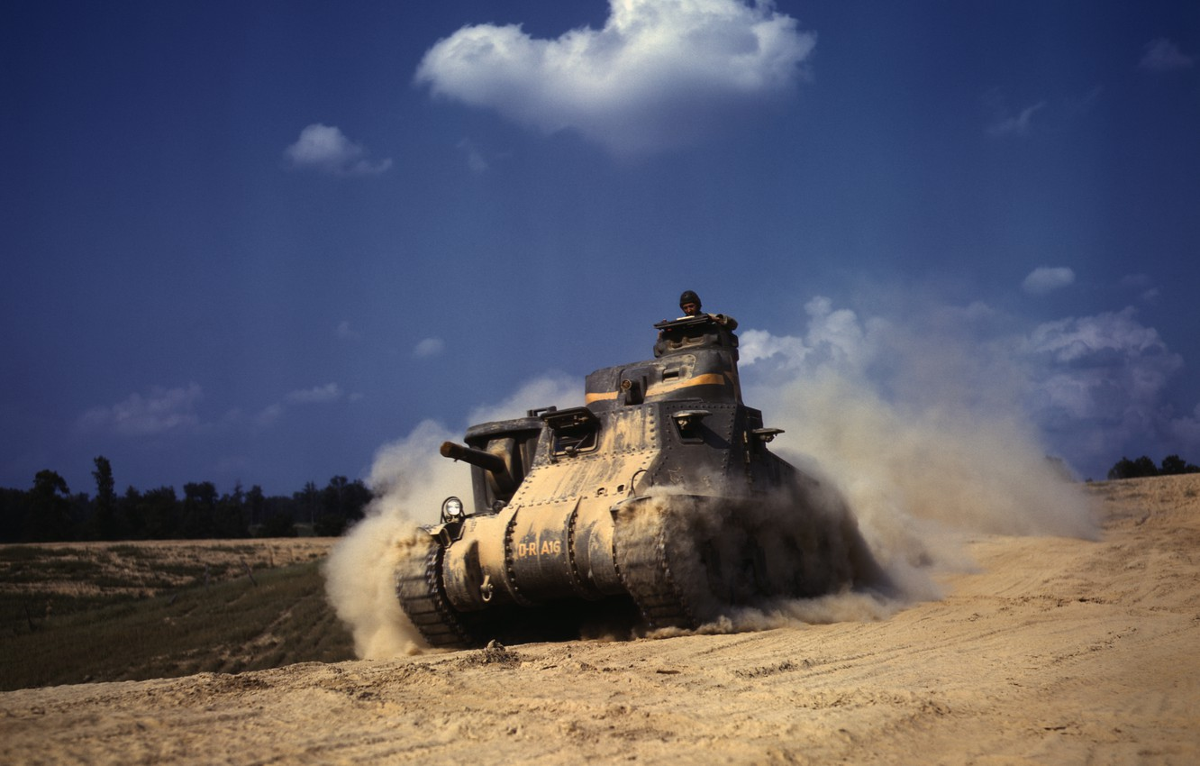 Photo wallpaper Tank, Grant, in the dust, M3Lee