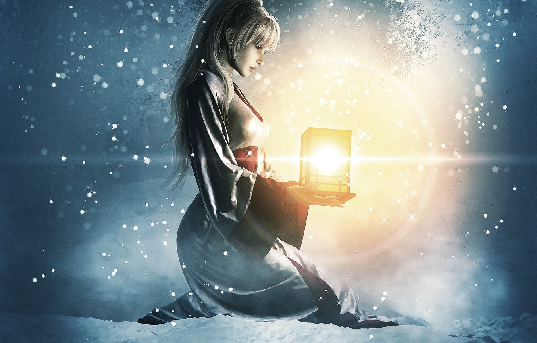 Photo wallpaper winter, girl, light, snow, art, lantern, sitting